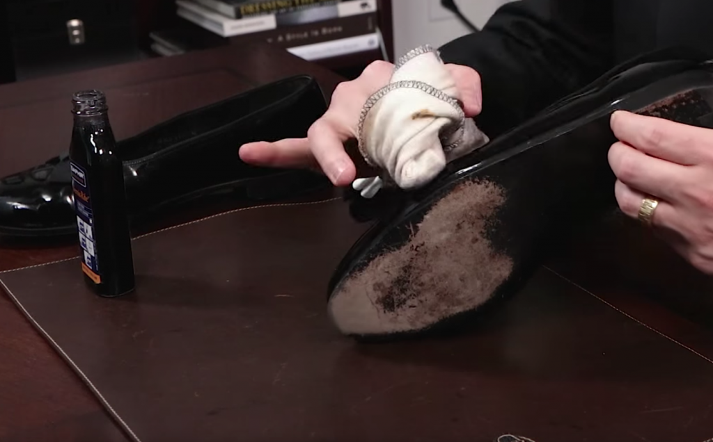 Step 2: Apply Saphir Vernis Patent Leather Cleaner