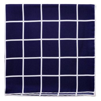Sovereign Grade Prince of Wales Pocket Square, Navy/White
