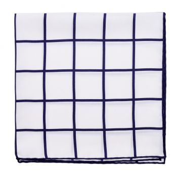 Sovereign Grade Prince of Wales Pocket Square, White/Navy
