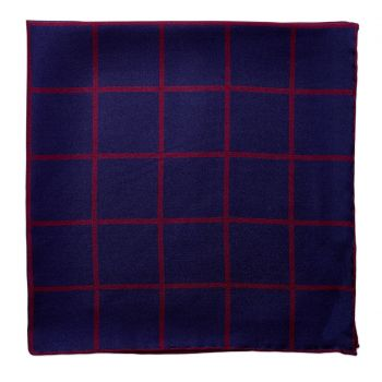 Sovereign Grade Prince of Wales Pocket Square, Navy/Burgundy