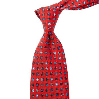 Sovereign Grade Red Floral 25oz Silk Hopsack Tie (150x8.5 cm)