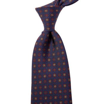 Sovereign Grade Navy Floral 25oz Silk Hopsack Tie (150x8.5 cm)