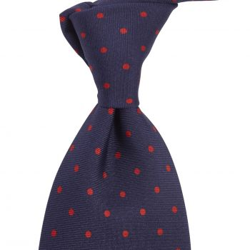 Sovereign Grade Navy London Spot Printed Silk Tie