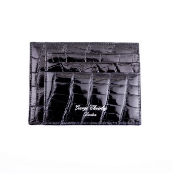 Black Side Opening Crocodile Wallet by G.J Cleverly