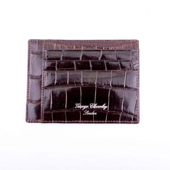 Brown Side Opening Crocodile Wallet by G.J Cleverly