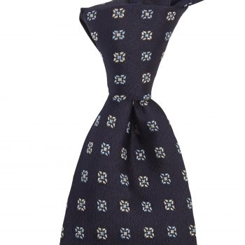 Sovereign Grade Midnight Blue Square Floral Jacquard Tie