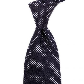 Sovereign Grade Navy Silk Micro Dot Tie