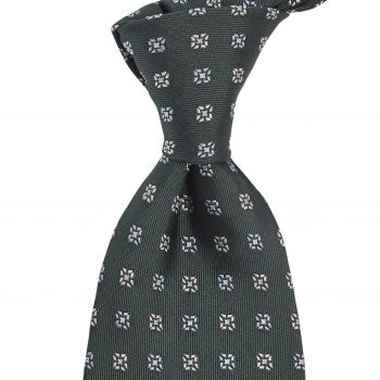 Sovereign Grade Forest Green Square Floral Jacquard Tie