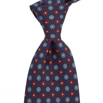 Sovereign Grade Navy/Blue/Red Maccesfield Corn Floral Motif Tie