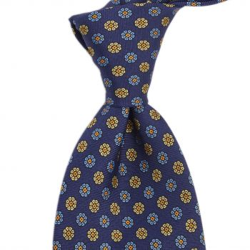 Sovereign Grade Royal/Blue/Cream Maccesfield Corn Floral Motif Tie