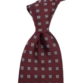 Sovereign Grade Oxblood Square Floral Jacquard Tie
