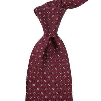 Sovereign Grade Oxblood Alternating Square Dot Jacquard Tie