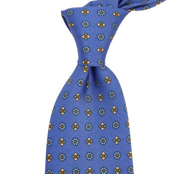 Sovereign Grade Lido Blue Floral Printed Silk Tie