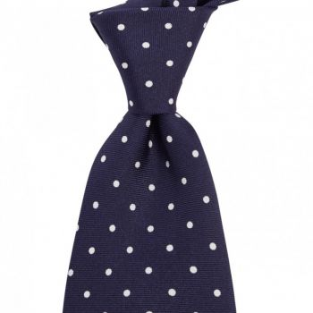 Sovereign Grade Navy White London Spot Printed Silk Tie