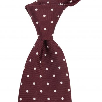 Sovereign Grade Burgundy London Spot Printed Silk Tie