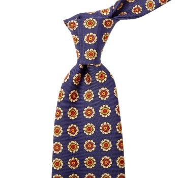 Sovereign Grade Navy Daisy Spring Madder Buff Tie (150x8.5 cm)