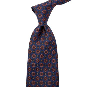Sovereign Grade Navy Geometric Floral Ancient Madder Tie (150x8.5 cm)