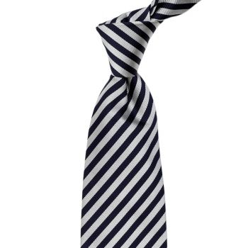 Sovereign Grade Navy and Silver London Stripe Silk Tie