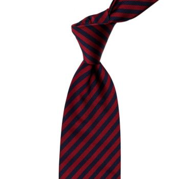 Sovereign Grade Navy and Red London Stripe Silk Tie