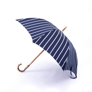 Navy Pin Stripe Umbrella with Bamboo Handle