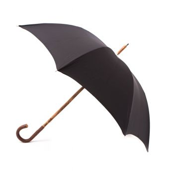 Cherrywood Solid Stick Umbrella with Black Canopy