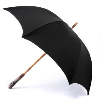 Manila Root Solid-Stick Umbrella with Imperial Black Canopy