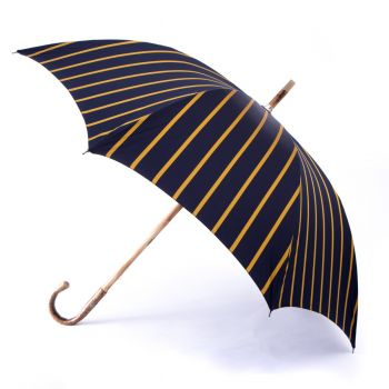 Walnut Solid-Stick Umbrella with Navy Stripe Canopy