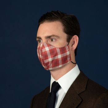 Sovereign Grade Red Plaid Cashmere Face Mask