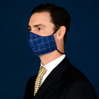 Sovereign Grade Navy Windowpane Face Mask