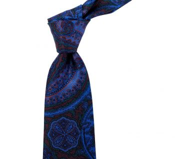 Sovereign Grade Navy and Brown Paisley Ancient Madder Silk Tie