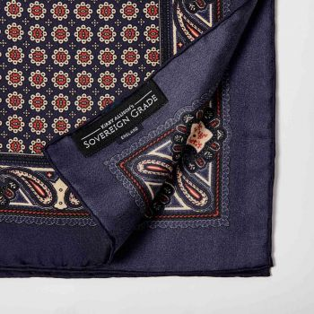 Sovereign Grade 100% Silk Navy Pocket Square