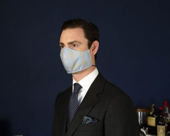 Sovereign Grade COVID Sky Blue Plaid Wool-Silk Mask