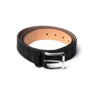 Simonnot Godard Black Nubuck Crocodile Belt