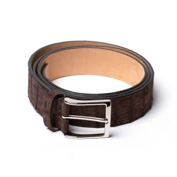 Simonnot Godard Nubuck Crocodile Belt - Dk Brown