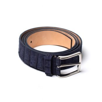 Simonnot Godard Nubuck Crocodile Belt - Navy