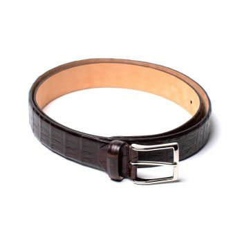 Simonnot Godard Crocodile Belt - Dark Brown