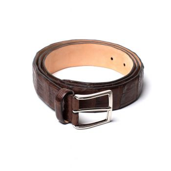 Simonnot Godard Crocodile Belt - Med Brown