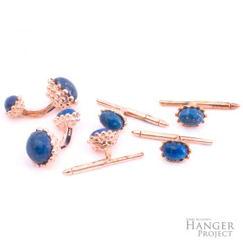 Rose Gold Lapis Lazuli Golden Acorn Cufflinks