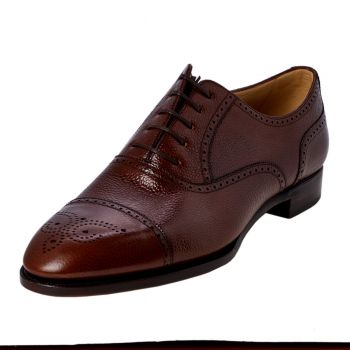 TLB Antique Brown Pebble Grain Semi-Brogue 8.5UK