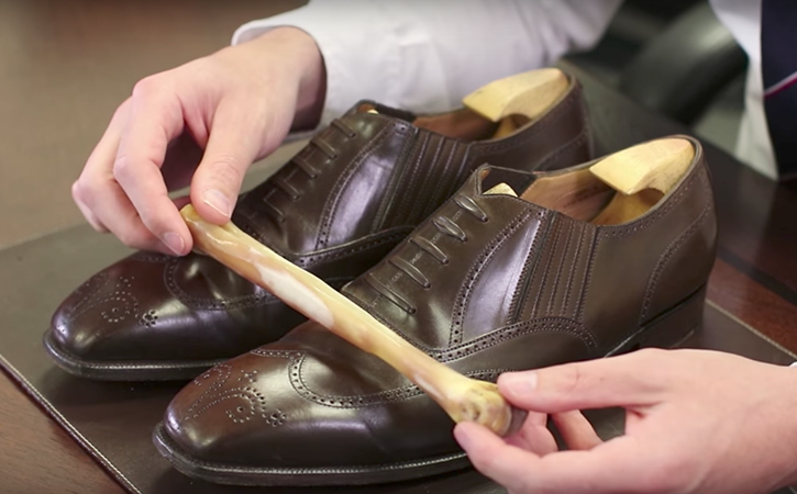 Polishing Dark Brown Leather Shoes