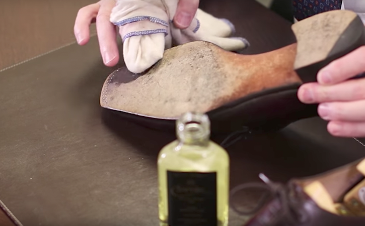 step 7: condition and waterproof soles with saphir sole guard