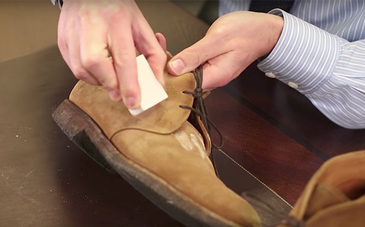 step 1: clean off dry stains using saphir gommadin suede eraser