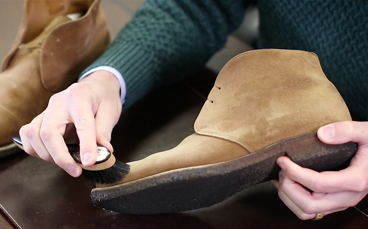 step 4: Re-brush Shoes with Horn-Backed Suede Cleaning Brush