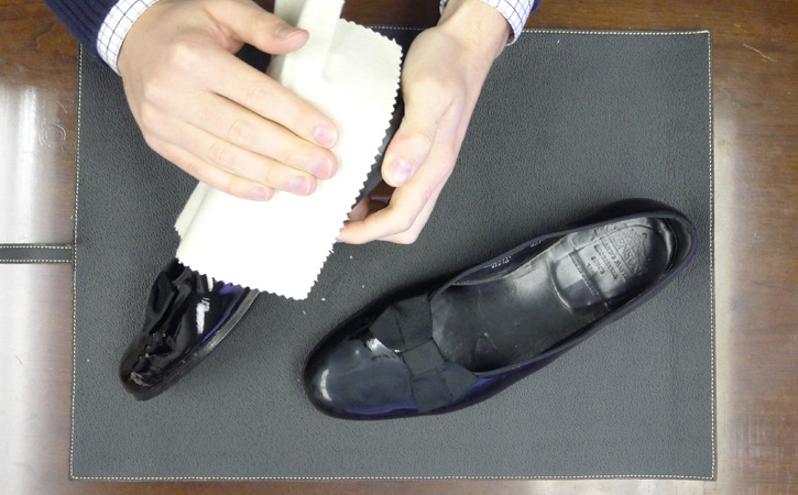 Buff the Patent Leather Cleaner to a High Shine using a Cotton Chamois