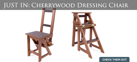 Convertible Cherrywood Dressing Chair and Step Ladder